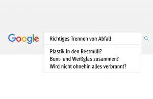 verschiedene Google-Suchanfragen zur Abfalltrennung