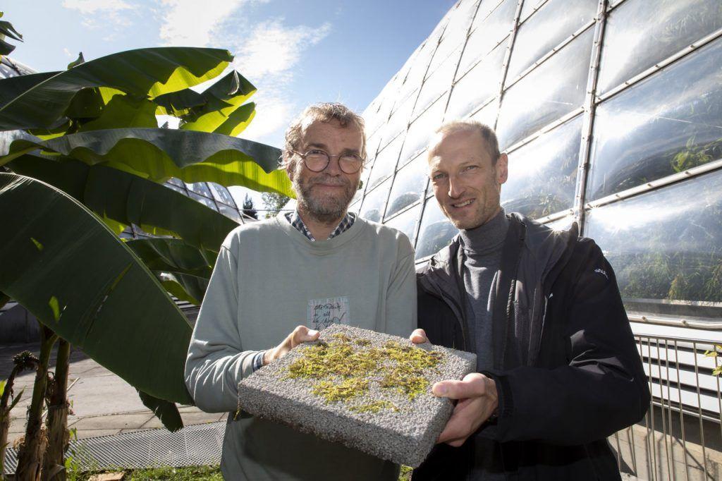 Sujetbild für Nachhaltiges Bauen - am Bild links Christian Berg (Botanischer Garten) und Joachim Juhart (TU Graz)